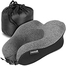 Fosmon Travel Neck Pillow with Earplugs, Soft and Comfortable Memory Foam Cushion, Head & Chin Support, Machine Washable 100% Cotton Cover for Traveling Flying Airplane Car Bus - Dark Gray/Black