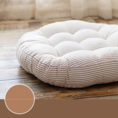 ASDF Tonda Striscia Sedia Pad, Moderna Addensare Tatami Cuscino della Sedia Soft Cuscino Cuscini per La Cucina Cenare Soggiorno-Beige D:47cm*t:8cm