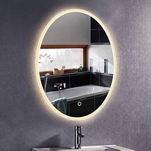 LLG Household Items& Salle de bains LED rétro-éclairé Miroir Miroir Vanity évier avec fonction anti-buée et Verticalement Horizontalement mural parfait for utilisation à domicile Or Hôtels (Couleur: l
