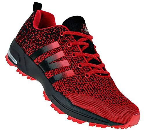 Sandic Neon Turnschuhe Sneaker Sportschuhe Herren Boots 096, Schuhgröße:49, Farbe:Rot/Schwarz