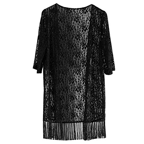 Millya Women Summer Floral Lace Kimono Cardigan Half Sleeve Tassel Bikini Coverup Beachwear Black