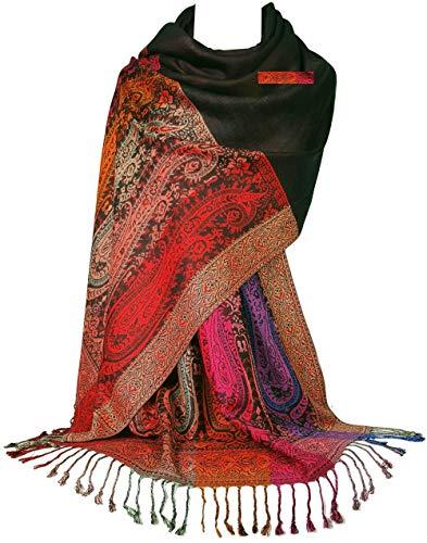 GFM Pashmina-Schal mit Blumenmuster und Paisley-Muster S11-9331-kl-black