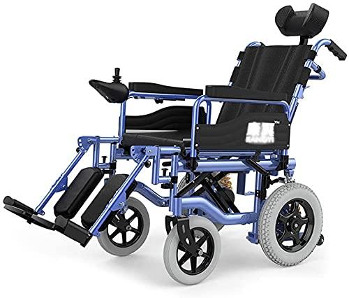 Silla de Ruedas eléctrica Plegable liviano discapacitado con discapacitados para sillas de Ruedas de Edad Scooter Inteligente para sillas de Ruedas eléctrico reclinable reclinado cómodo y Conveniente