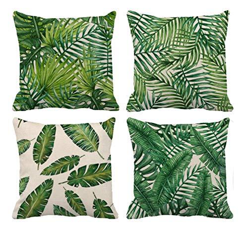 LucaSng Fundas de cojín de lino decoración del hogar cuadrado funda de almohada invisible con cremallera 45,7 x 45,7 cm, estampado de girasol geométrico, sala de estar, sofá, juego de 4