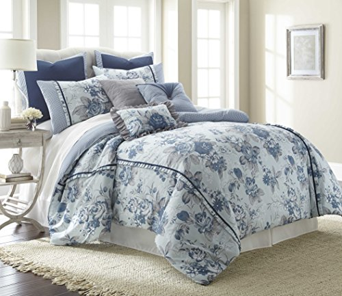 Amrapur Overseas Floral Farmhouse 8-Piece Comforter Set, King, Light Blue