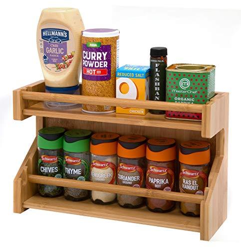 Estantería bambú para especias de 2 niveles, soporte para especias de madera, organizador de especias, botes para especias, botellas para salsas, almacenamiento especias de dos niveles para cocina