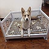 AYHa Cama para perros desmontable y lavable grande del perro del hierro forjado de la perrera de pelo de oro de verano estera del animal doméstico,Blanco