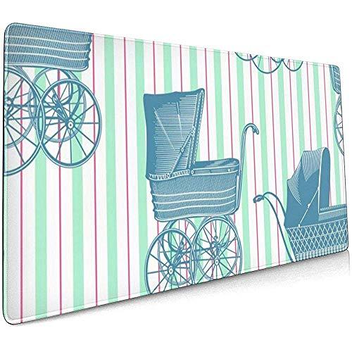 Vintage Baby kinderwagens Grote Gaming Muis Pad,Extended Mat Bureau Pad,Mousepad,Non-lip Dikke Rubber Base Mouse Mat