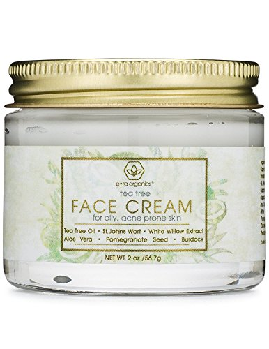 Tea Tree Oil Face Cream - For Oily, Acne Prone Skin 2oz Natural & Organic Facial Moisturizer with 7X Ingredients For Rosacea, Cystic Acne, Blackheads & Redness