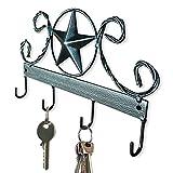 Black Texas Country Western Key Holder - Rustic Wall Décor Key Hanger for Home, Vintage Metal Key Hangers for Wall, Star Key Rack Hook Wall Holders, Multiple Hooks for Keys (Black)