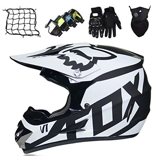 Casco Moto Niños Blanco Negro Casco de Bicicleta de Tierra Eléctrica de Integral Casco de Motocross para Jóvenes Adultos para Bicicleta de Montaña MX Quad BMX - con Diseño FOX
