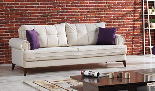 Schlafsofa Kippsofa Sofa Samt mit Schlaffunktion Klappsofa Bettfunktion mit Bettkasten Couchgarnitur Couch Sofagarnitur - Step Cream