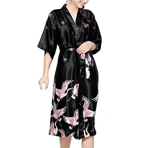 Juleya Kimono Nachtwäsche Plus Größe Hochzeit Braut Brautjungfer Robe Satin Rayon Bademantel Nachthemd Für Damen Schwarz 2XL