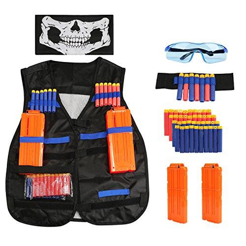 BelleStyle Gilet Tactique pour Enfants, Nerf Accessoire Kit Veste Gilet Tactique pour Nerf Gun N-Strike Elite Bataille avec 40pcs Recharge Balles,2pcs Recharger des Clips,Bracelet,Masque et Lunettes