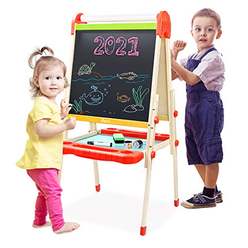 Joyooss Kids Wooden Art Easel with Paper Roll...