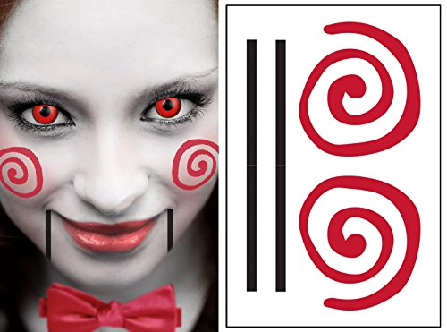 Saw Clown Style Kit Temporary Tattoos | Skin Safe | MADE IN THE USA
