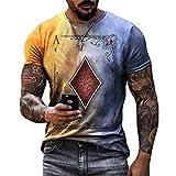 Camiseta Hombre Moderna Tendencia Moda Póquer Estampado Corte Regular Hombre Shirt Verano Básico Clásico Cuello Redondo Hombre Casuales Camisa Diario Casual Cómodo Manga Corta A-Multicolor 5XL