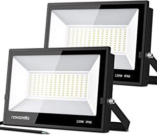 Novostella 120W LED Flood Light 2 Pack, 12,000lm Outdoor Super Bright Security Lights, 5000K Daylight White, IP66 Waterproof Floodlight, Outside Lighting for Yard Garden Playground Warehouse Factory