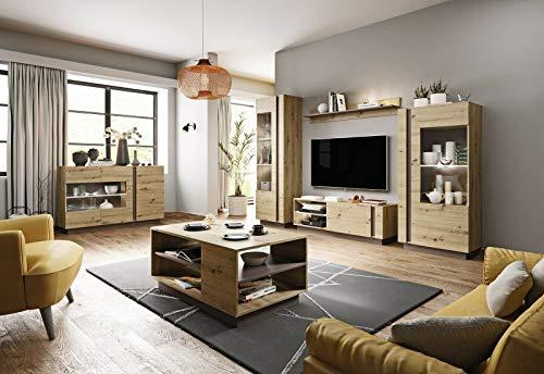 Herby Wohnwand Arden 2 Eiche Artisan+Grau Schrankwand Anbauwand Tv Schrank Led Beleuchtung 13 (Wohnwand +Couchtisch)