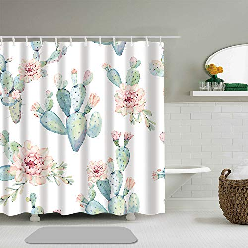 Shower Curtain Flower Watercolor