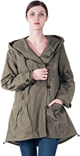 Infron IN FRONT Women Plus Size Elegant Hooded Single-Breasted Anorak Coat Spring/Fall
