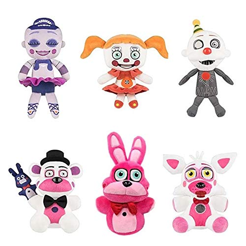 Nonbrand 6pcs/Set 7.5' Five Nights at Freddy's Sister Location Freddy Foxy Circus Baby Ballora Plush Stuffed Toys Doll for Kids