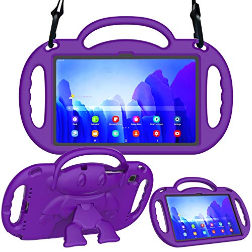 AVAWO Samsung Galaxy Tab A7 10.4 Inch (2020) Case, Tab A7 Kids Case - with Shoulder Strap - Light Weight Shock Proof Kids Friendly Case for 10.4inch Galaxy Tab A7 (SM-T500/ T505/ T505N/ T507) - Purple