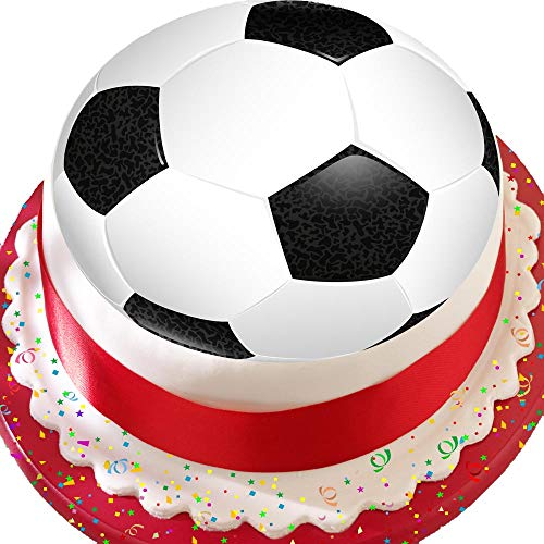 Fußball schwarz & weiß Fußball 19,1cm Birthday vorgeschnittenen Essbarer Zuckerguss Kuchen Topper Dekoration