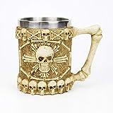 Taza de acero inoxidable con diseño de calavera vikingo, con mango de dragón de fuego, diseño gótico, tazas de cerveza como Halloween