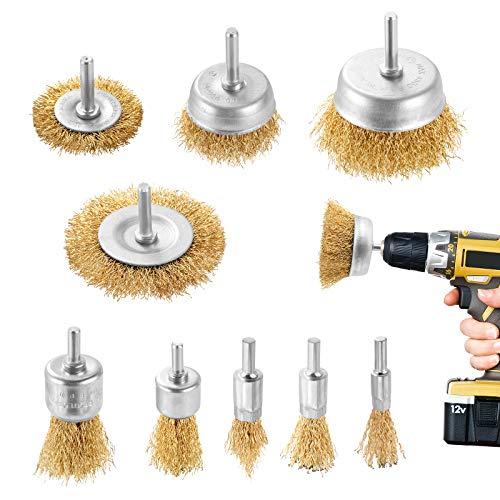 DazSpirit 9Pieces cepillo de alambre cepillo metalico para taladro cepillo taladro con vástago de 1/4 pulgadas Kit de cepillo para eliminación de óxido/corrosión/pintura