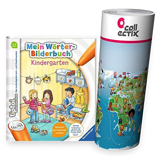 Collectix Ravensburger tiptoi Buch - Mein Wörter-Bilderbuch Kindergarten + Kinder Wimmel-Weltkarte | Lernen, Lieder singen, Spielen