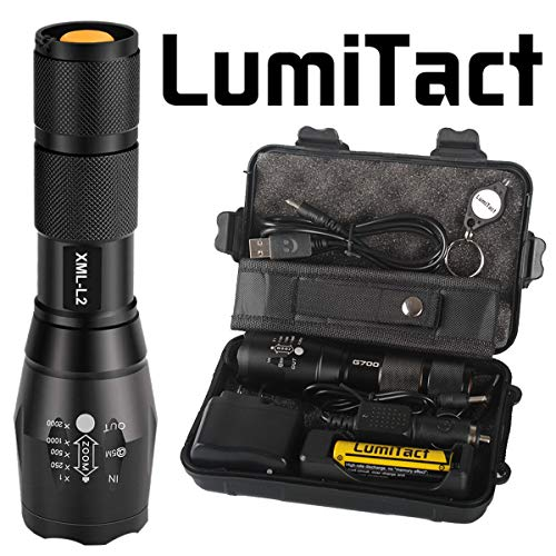 LumiTact Genuine G700 LED Tactical Flashlight Military Grade Torch, USB Rechargeable Super Bright 700LM, with Battery & Charger