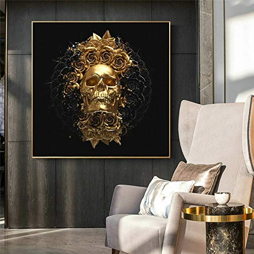 Golden skull with black flowers on canvas mural posters and prints abstract totem art pictures for living room home decoration 60x60 Frameless