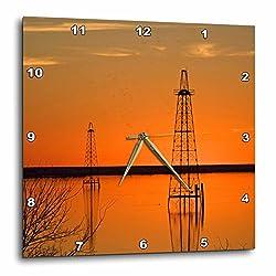 3dRose DPP_94465_3 Oil Well Derricks, Industry, Lake Arrowhead, Texas-Us44 Ldi0004-Larry Ditto-Wall Clock, 15 by 15-Inch