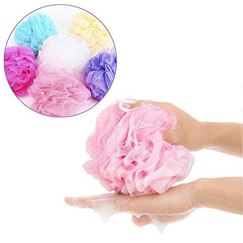 HINK 5PCS Bath Shower Body Exfoliate Puff Sponge Mesh Net Ball Random Bathroom Products