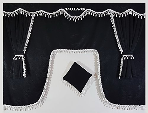 Juego de 5piezas de cortinas color negro en terciopelo con borlas de color blanco. Tamaño universal para todos los modelos de camión, accesorio de cabina.