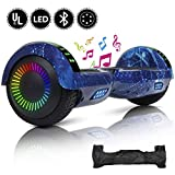 YHR 6.5inch Hoverboard with Led Colorful light, Self-Balacing Electric Scooter for Kids and Adults,Segway Hoverboard with Free Carrg Bag and UK Charger