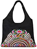 Mazexy Tote Handbags for Women Large Embroidered Canvas Shoulder Bag Daily Bag