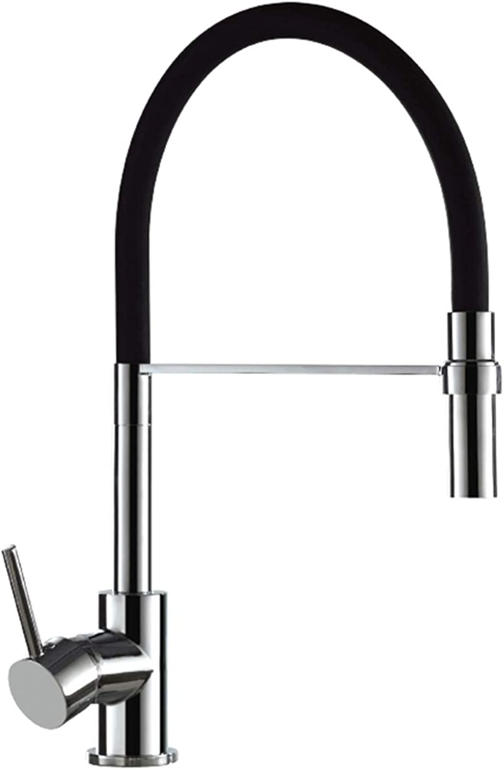 Single-Lever Sink Mixer Side Lever with Flexible Hose Duemmeggi Kitchen Sydney Brass Chrome and Black Finish