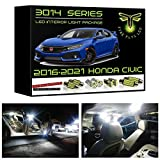 Fyre Flys 6 Piece White LED Interior Lights for 2016-2021 Honda Civic Super Bright 6000K 3014 Series SMD Package Kit and Install Tool