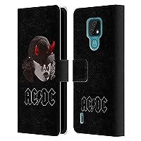 Head Case Designs オフィシャル ライセンス商品 AC/DC ACDC アンガス・ヤング ホワイト ソロ Motorola Moto E7 専用レザーブックウォレット カバーケース