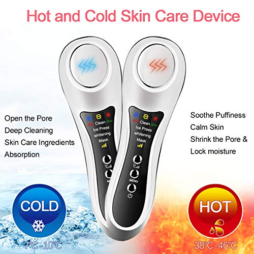 Anti Aging Machine for Skin Tightening Whiten Facial Wrinkle Remover Massager Sonic Vibration Beauty Machine Hot and Cold Skin Care Device Remove Dark Circles Eye Bags Face Cleanser Firming Massager