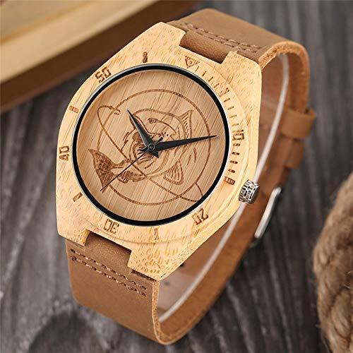 IOMLOP Reloj de Madera, Reloj de Pulsera de Madera Natural para Hombre, Estilo de Vestido Informal, Grabado Artesanal de Pescado, Esfera Ligera de Madera de bambú,Regalos deCuero