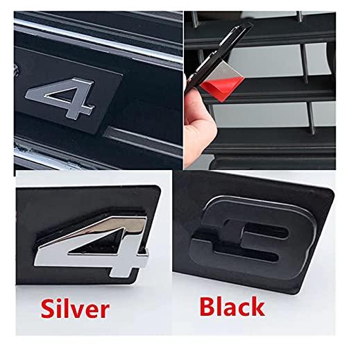 FSLLOVE S3 S4 S5 S6 S7 S8 RS3 RS4 RS5 RS5 RS6 RS7 RS8 RS8 RSQ3 RSQ5 RSQ7 TTS Griglia Emblem Bracket Glossy Black Car Logo Adesivi Badge Adatta per Audi (Color : Chrome Silver Letter, Style : S4)