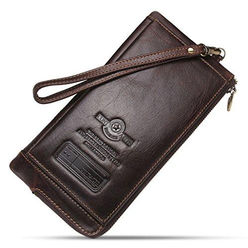 Portemonnee voor heren, echt leer, portemonnee met ritssluiting, portemonnee voor munten, polsbandje Notecase