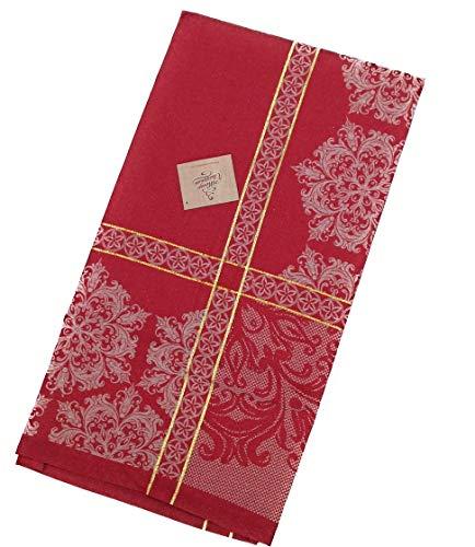 PREZIOSA HOME Candy Tovaglia Copritavolo Natale Jacquard piazzata con Disegno in Lurex, Mis. 140x240 cm, col. Rosso/Oro, Tessuto 47% Cotone 53% Poliestere