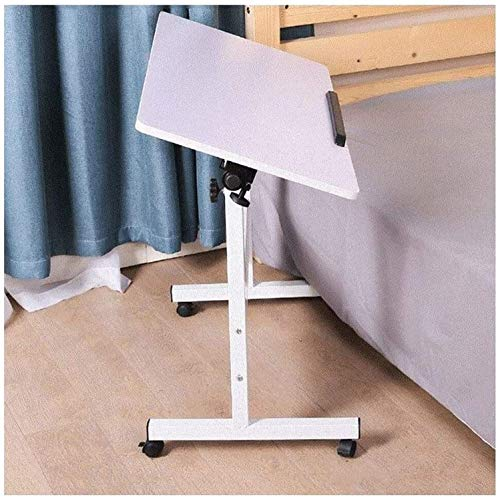 Mesa plegable para regazo con ruedas para escribir, dibujar, leer, mesa auxiliar portátil (color madera blanca, tamaño: 80 x 50 cm) (color: blanco, tamaño: 80 x 40 cm)