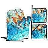 Guante de Horno de 4 Piezas y agarradera,Ola de mar Azul. Salpicaduras,Guantes Aptos para Alimentos Antideslizantes Impermeables y Resistentes al Calor para microondas cocinar y Hornear en la Cocina