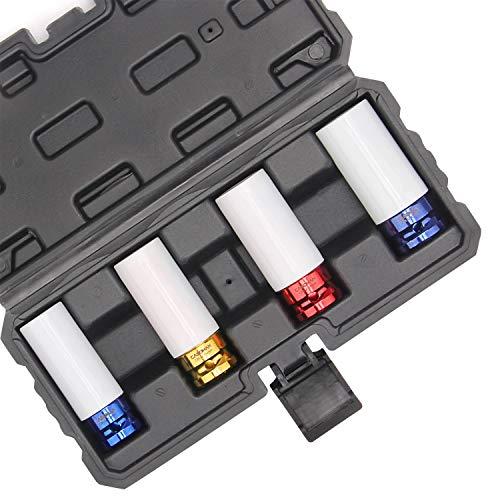 CASOMAN 1/2- Inch Drive Wheel Protector Impact Socket, 1/2' Thin Wall Deep Impact Socket Set Plastic Sleeve Lug Nut, 4 Pieces Set, 6 Point,Metric, 17mm,19mm,21mm,22mm