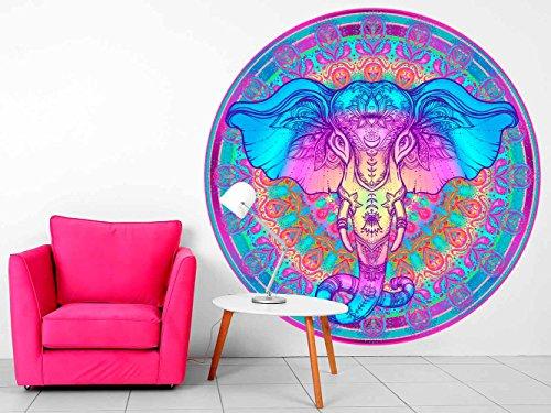 Vinilo Decorativo Pared Mandala Cabeza Elefante   Varias Medidas 100x100cm   Multicolor   Pegatina Adhesiva Decorativa de Diseño Elegante